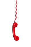 Red telephone cable hanging