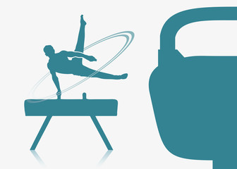 Gymnast on a pommel background