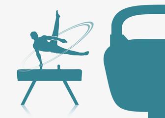 Gymnast on a pommel background