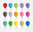 set of colorful rubber balloon vector
