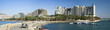Panoramic view on lagoone and resort hotels of Eilat