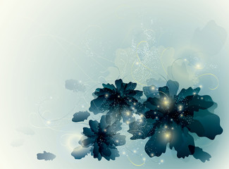 Ultramarine flowers / Fairy blue background