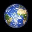 3D Erdkugel mit Merkaba Symbol