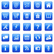 5x5  Button Icon Set Quadratisch Blau -  01