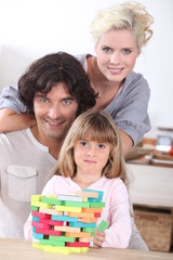 Family with puzzle