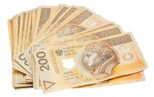 Stos złotych polskich 200 banknotów