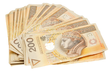 A stack of Polish 200 zloty notes