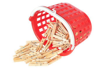 Group clothespins in red basket. Closeup.