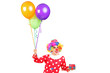 Male clown with balloons and a gift