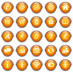 Button Icon Set Rund Orange 2