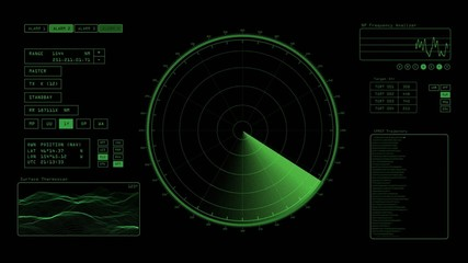 Radar screen is scanning for signals