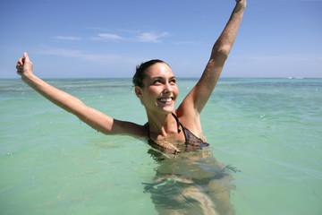 Woman enjoying a refreshing swim
