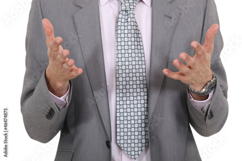 closeup on businessman's hand during meeting