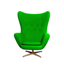 Arm chair color green  isolated on white with clipping path