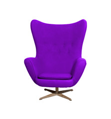 Arm chair color purple  isolated on white with clipping path