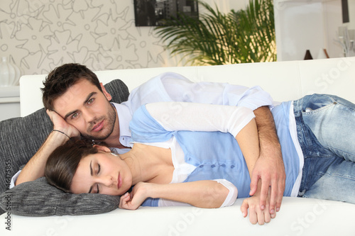 Couple having nap