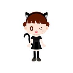 仮装をする女の子 猫の衣装