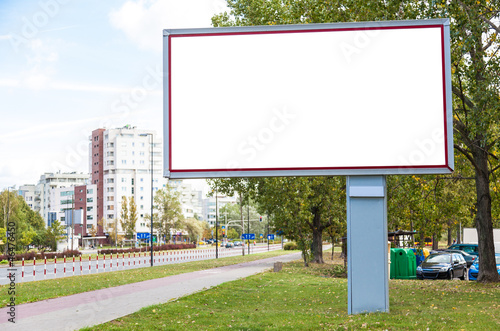 Blank billboard in city center