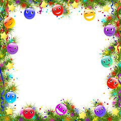 frame with funny christmas balls