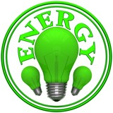 Sign energy with green bulbs