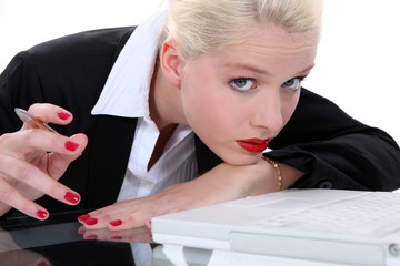 Bored blond receptionist