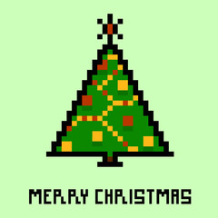 Pixel new year's tree. Vector illustration eps 10