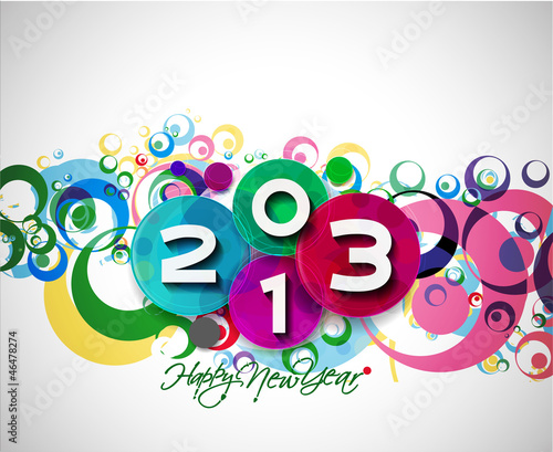 new year 2013 in colorful background design. Vector illustration