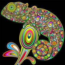 Psychodeliczny art design kameleon kameleon psychodeliczny wektor