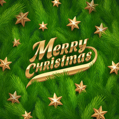 Golden Christmas greeting and stars in fur-tree branches