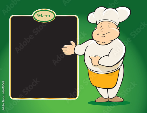 chef restaurant with menu