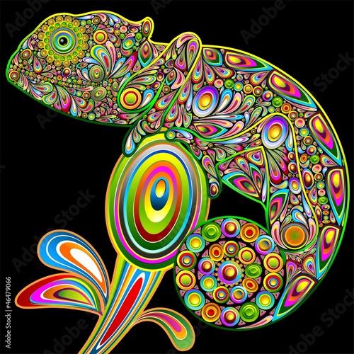 Kameleon Psychedelic Art Design-Camaleonte Psichedelico-Vector