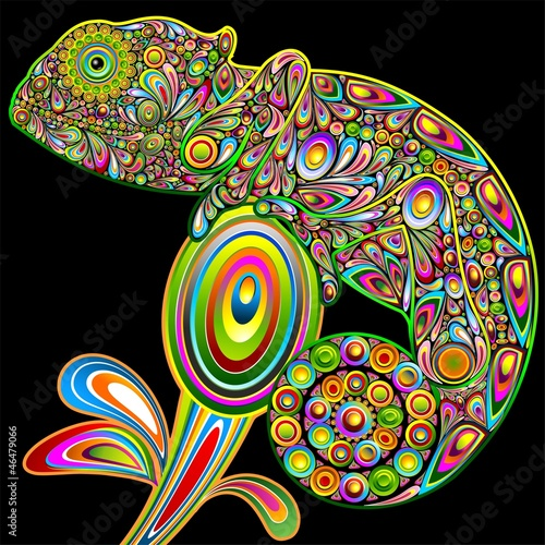 Chameleon Psychodeliczny Art Design-Camaleonte Psichedelico-Vector
