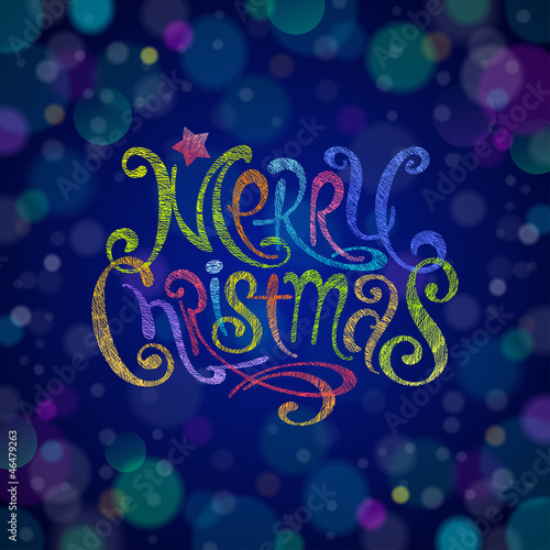 Multicolored Christmas greeting sign - vector illustration
