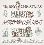 Vector hand drawn Christmas greetings and signs