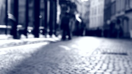 Blurred scene on the street.