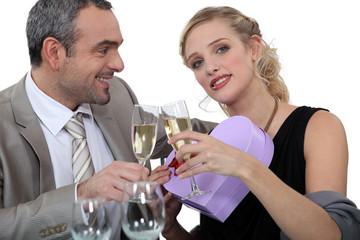Couple celebrating Valentine's Day