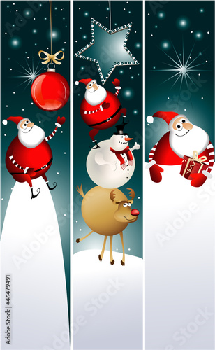 Christmas banners with Santa Claus