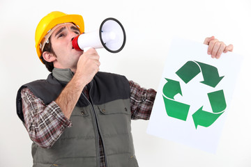 Eco-friendly tradesman campaigning