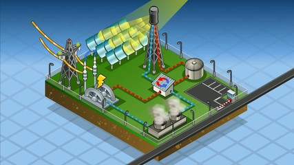 isometric solar thermic plant in production of energy
