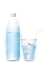 vector water bottle with glass and ice