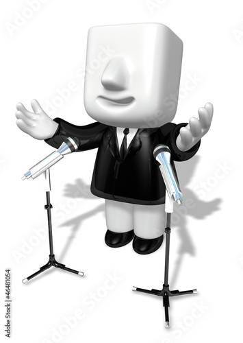 3d business man speaking behind stand mike