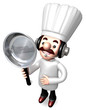 Best Chef male holding a frying pan. 3D Chef Character Design