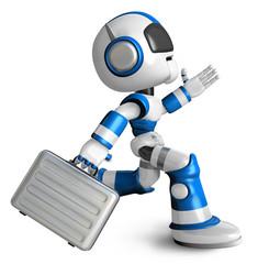 Ran the Blue Robot holding a briefcase. 3D Robot Character Desig