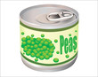 metallic tin can with green peas isolated on white background