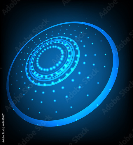 Blue abstract background with glowing lights. Vector