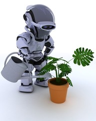 Robot with  watering can feeding a plant