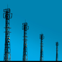 Shadow telecomunication tower on blue background
