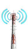 Telecomunication tower with graphic signal on white