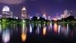 City at night view of Bangkok from Lumpini Park, Thailand.