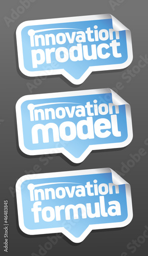 Innovation products speech bubbles set.